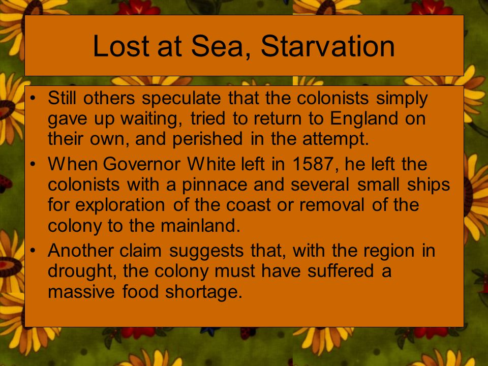 Lost at Sea, Starvation