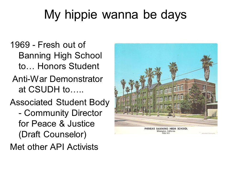 My hippie wanna be days 1969 - Fresh out of Banning High School to… Honors Student. Anti-War Demonstrator at CSUDH to…..