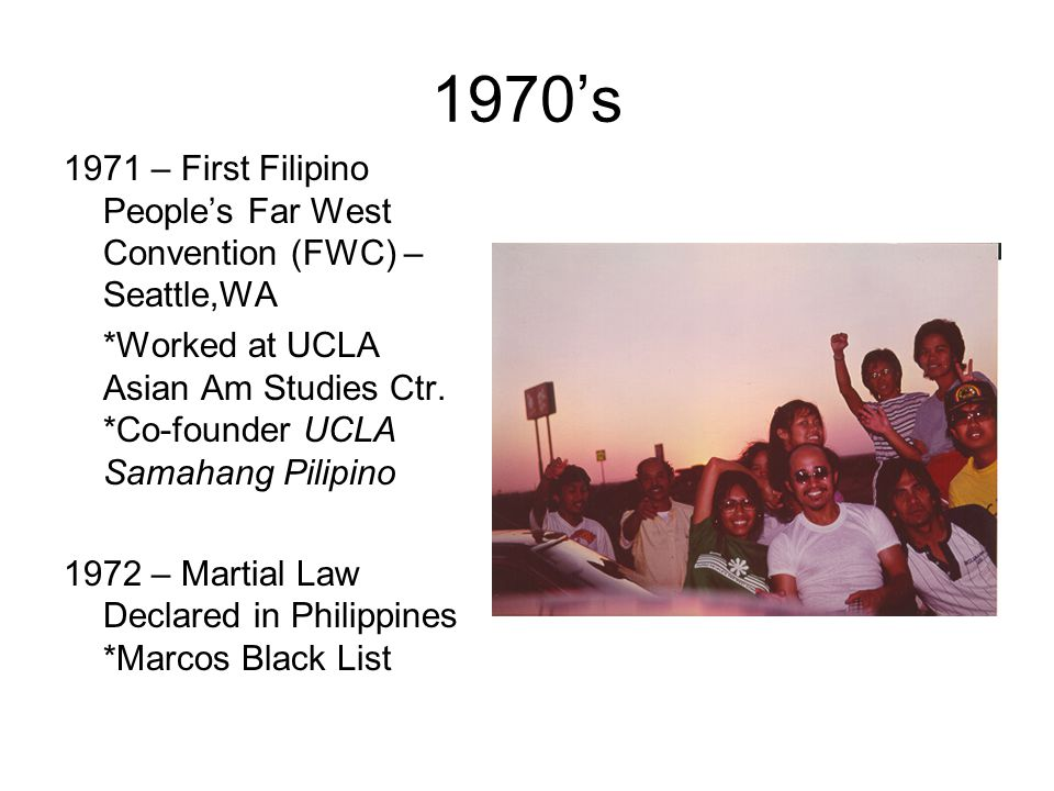 1970's 1971 – First Filipino People's Far West Convention (FWC) – Seattle,WA.
