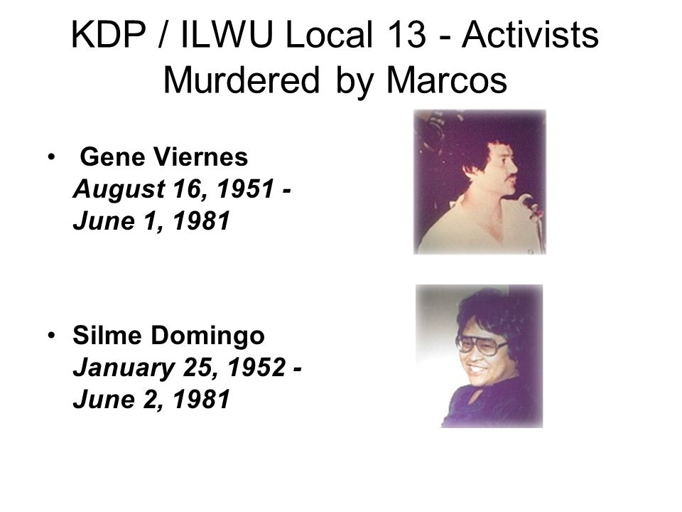 KDP / ILWU Local 13 - Activists Murdered by Marcos