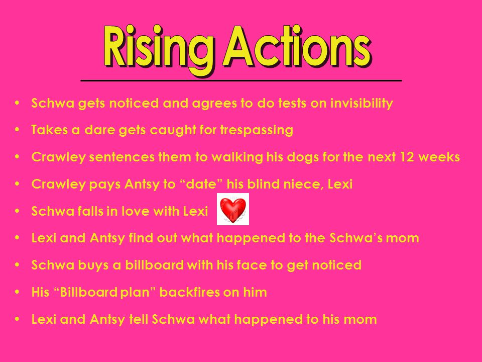 Rising Actions Schwa gets noticed and agrees to do tests on invisibility. Takes a dare gets caught for trespassing.