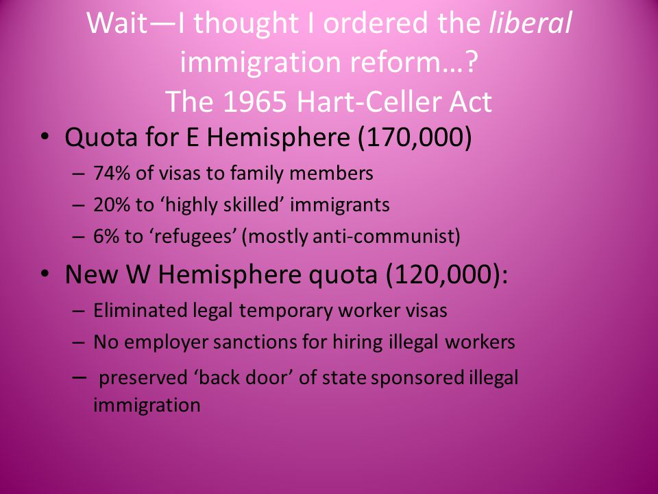 Wait—I thought I ordered the liberal immigration reform…