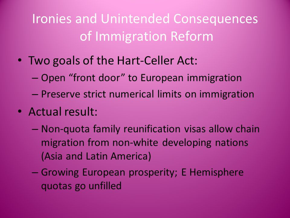 Ironies and Unintended Consequences of Immigration Reform