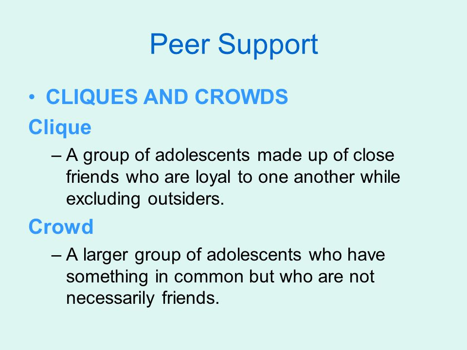 Peer Support CLIQUES AND CROWDS Clique Crowd