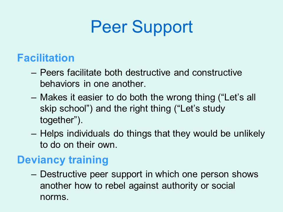 Peer Support Facilitation Deviancy training