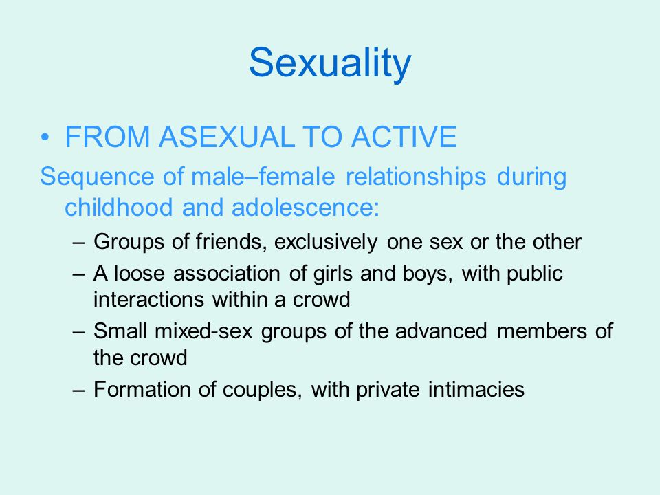 Sexuality FROM ASEXUAL TO ACTIVE