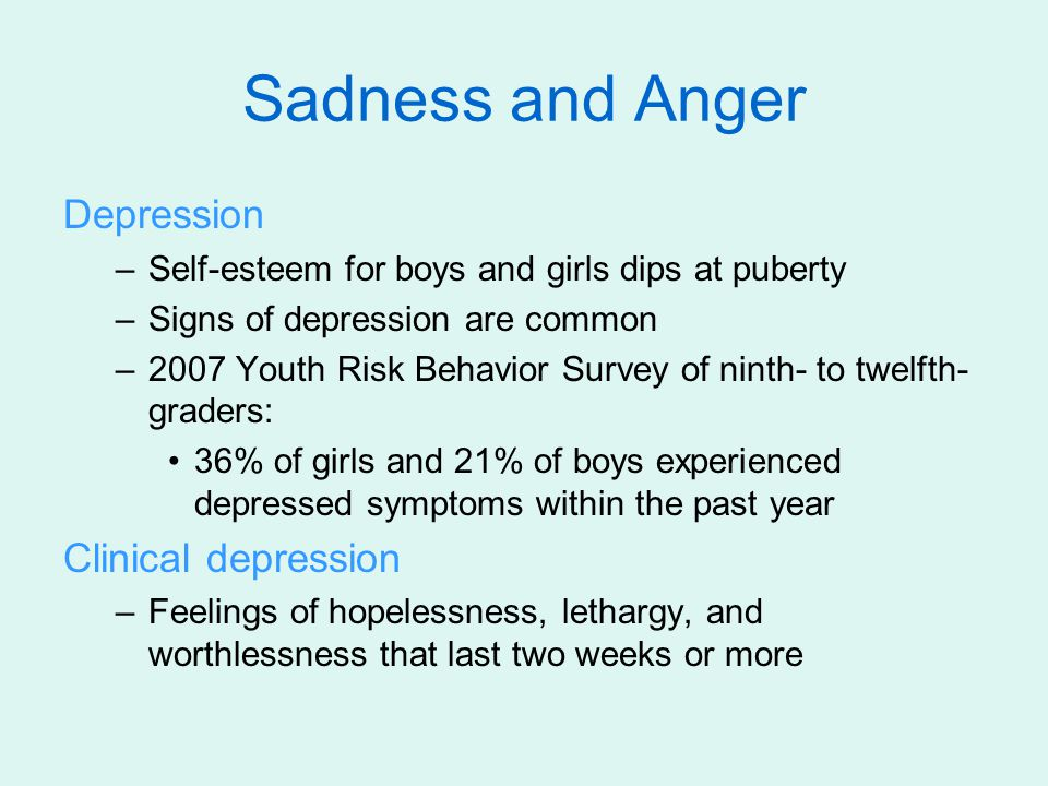 Sadness and Anger Depression Clinical depression