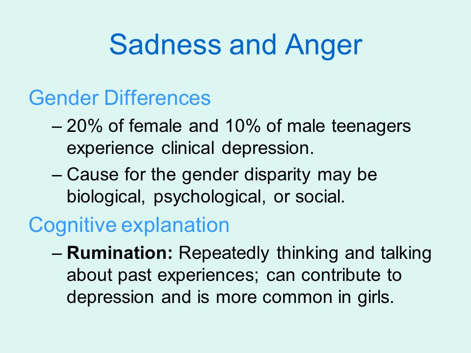 Sadness and Anger Gender Differences Cognitive explanation