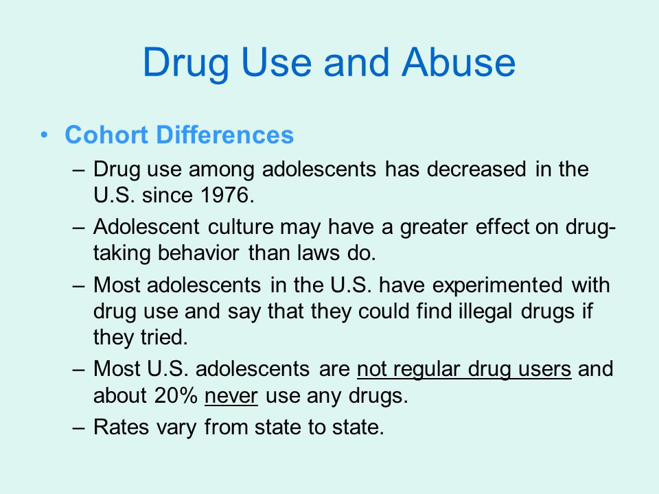 Drug Use and Abuse Cohort Differences
