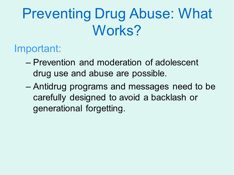 Preventing Drug Abuse: What Works