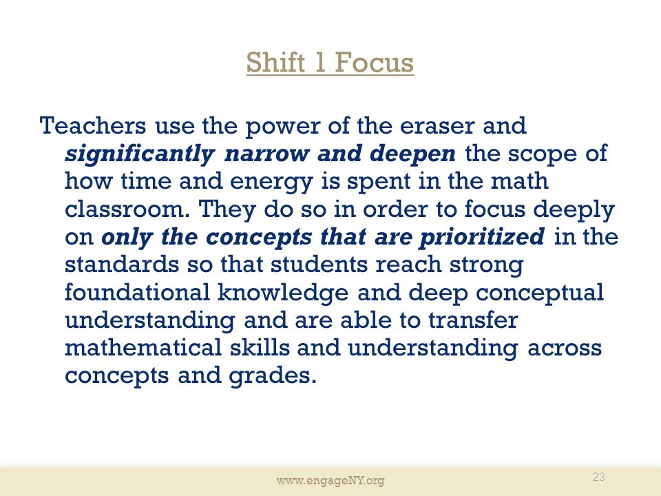 Shift 1 Focus