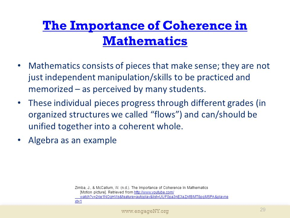 The Importance of Coherence in Mathematics
