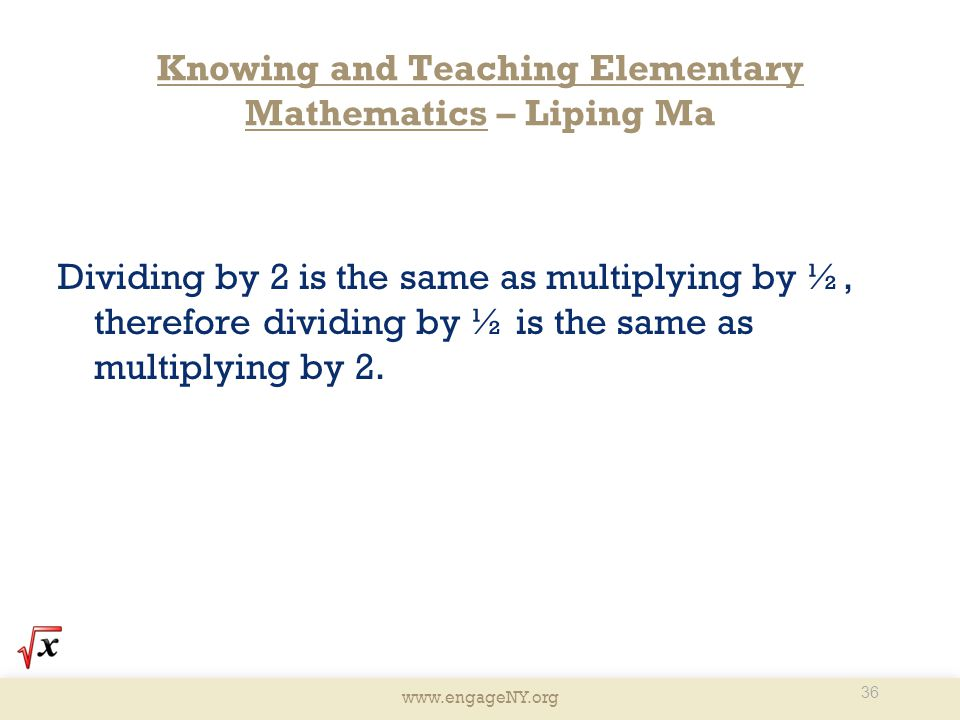 Knowing and Teaching Elementary Mathematics – Liping Ma
