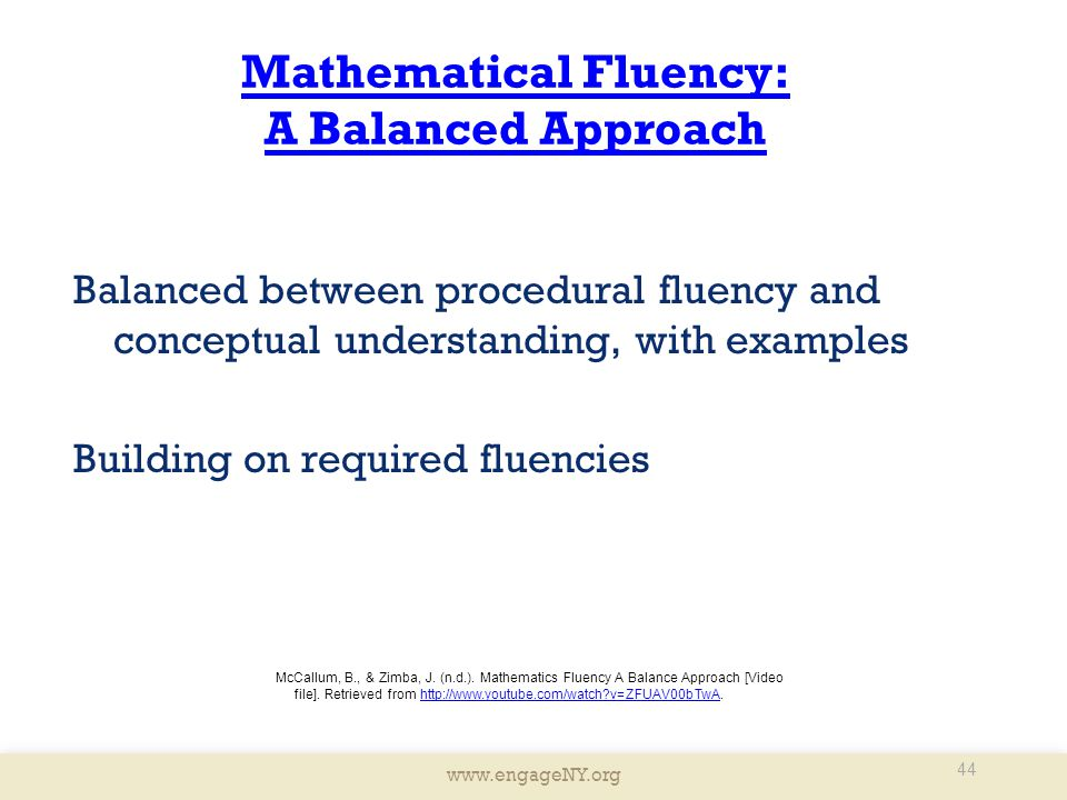 Mathematical Fluency: A Balanced Approach