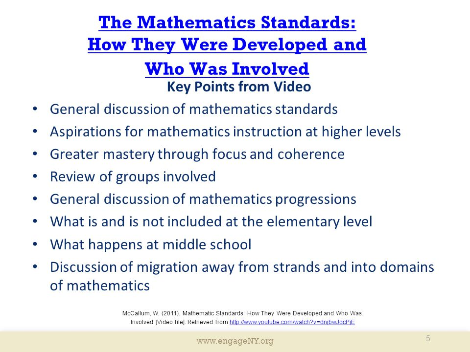 The Mathematics Standards: How They Were Developed and Who Was Involved