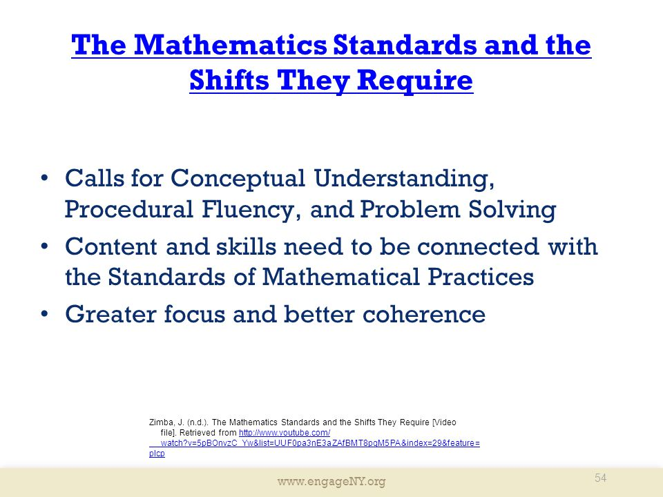 The Mathematics Standards and the Shifts They Require