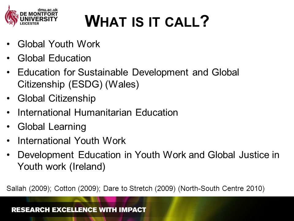 What is it call Global Youth Work Global Education