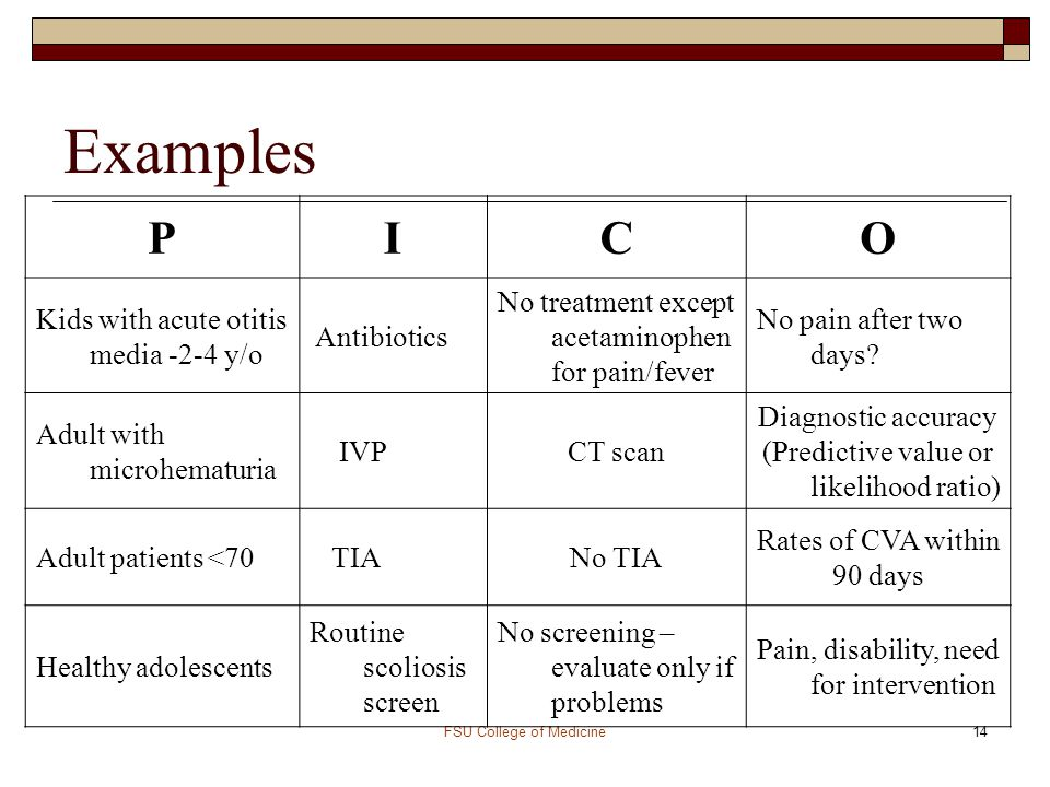 examples of pico questions for pediatrics