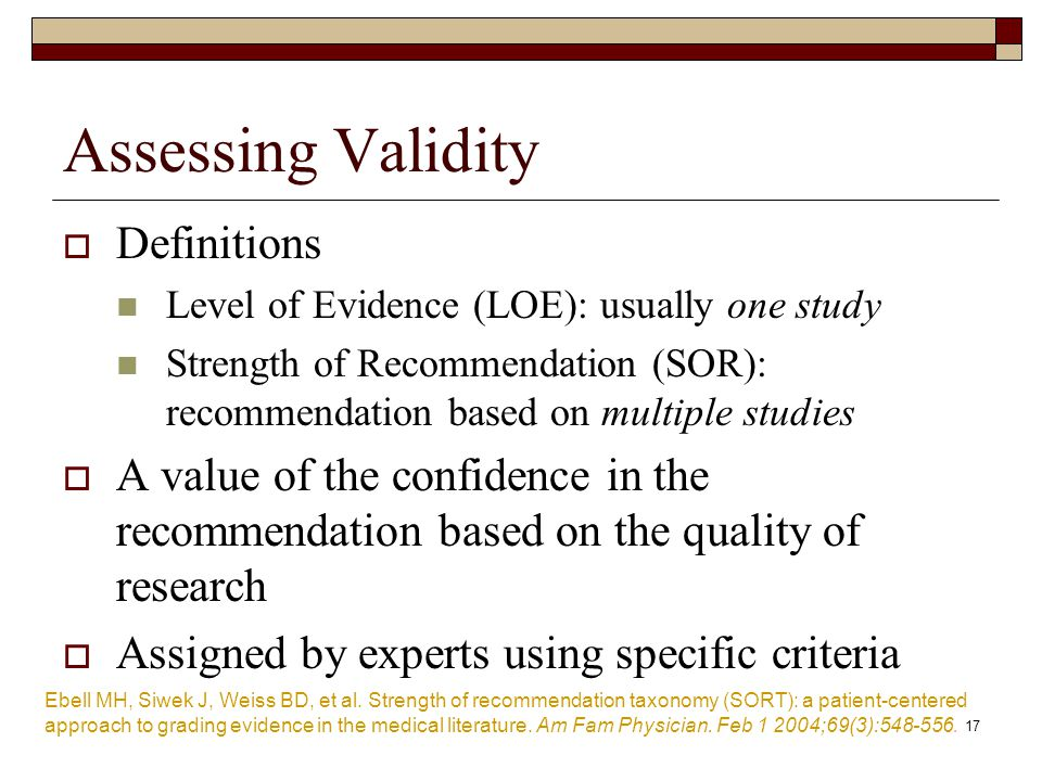 Assessing Validity Definitions