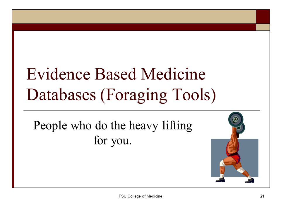 Evidence Based Medicine Databases (Foraging Tools)