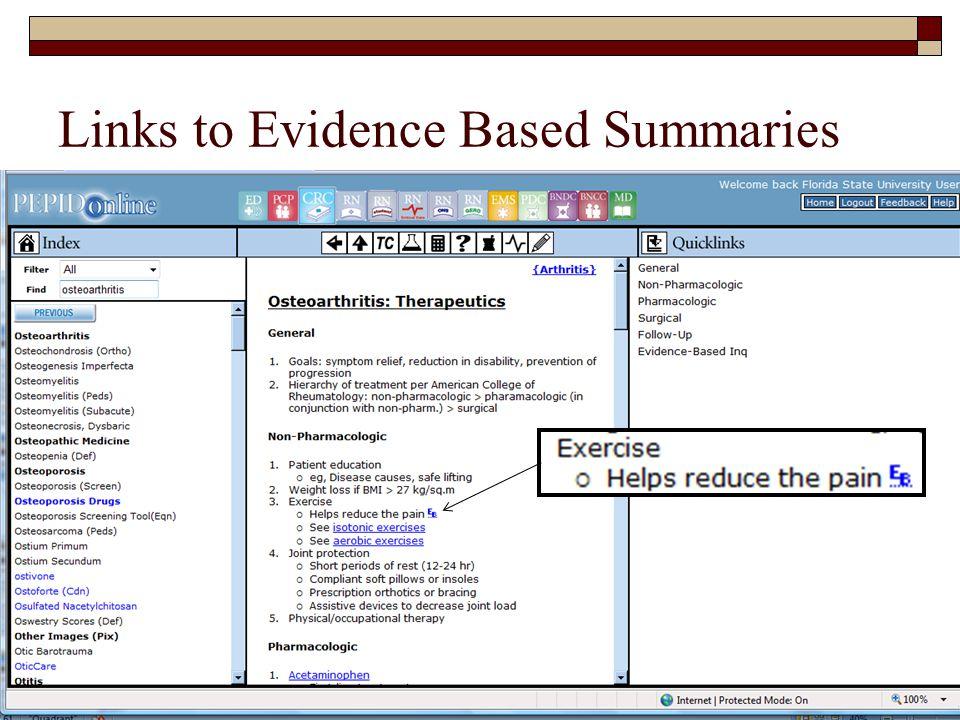 Links to Evidence Based Summaries