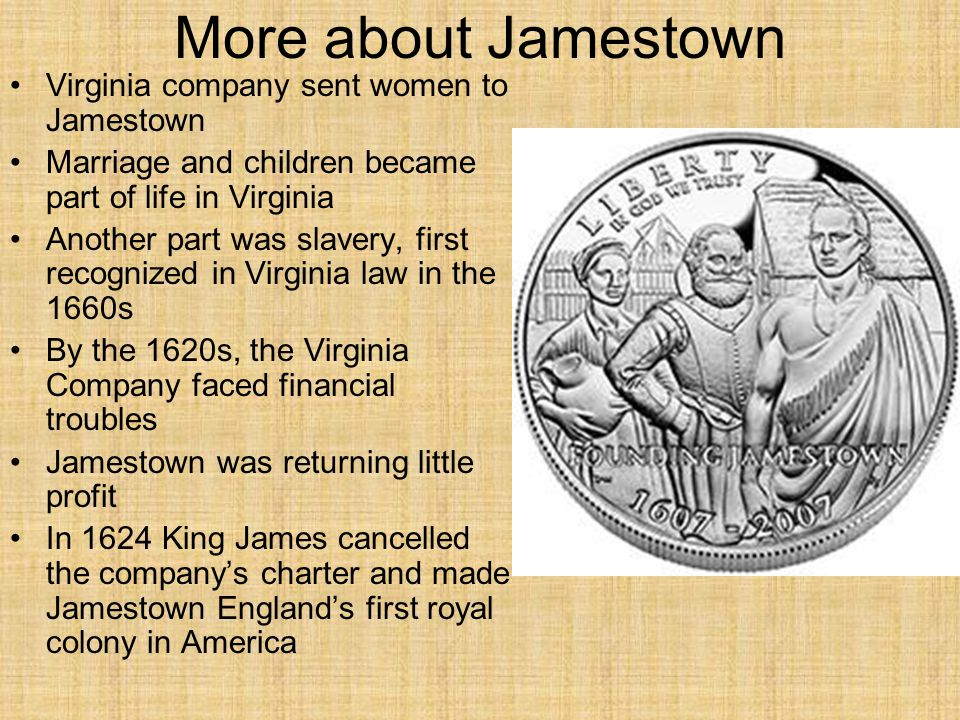 More about Jamestown Virginia company sent women to Jamestown