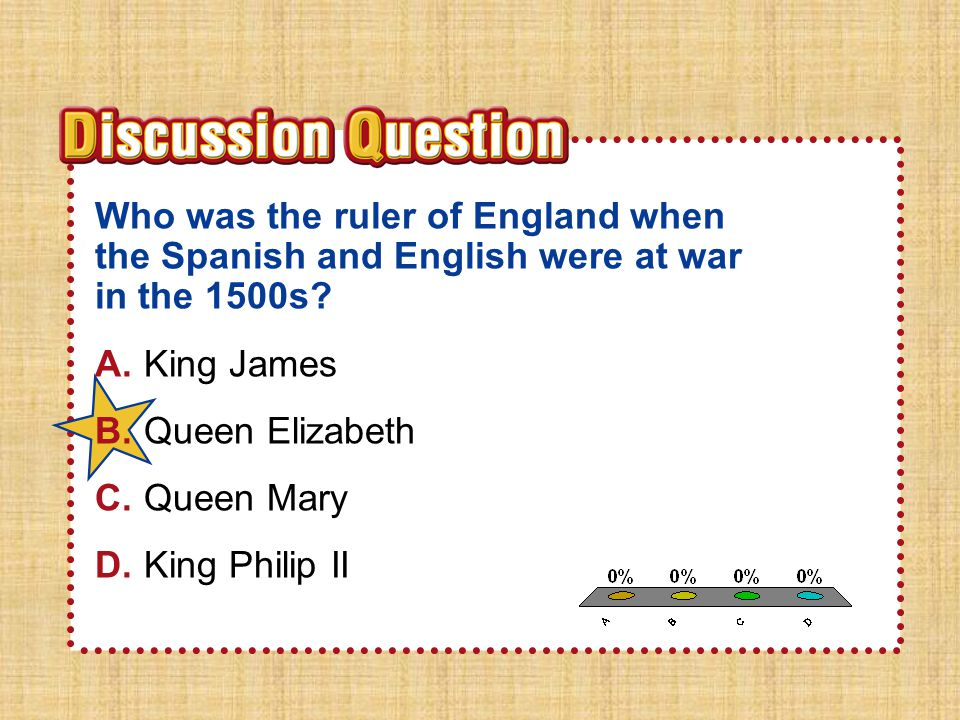 Section 1 Who was the ruler of England when the Spanish and English were at war in the 1500s A. King James.