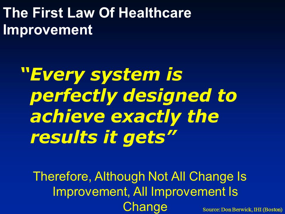 The First Law Of Healthcare Improvement