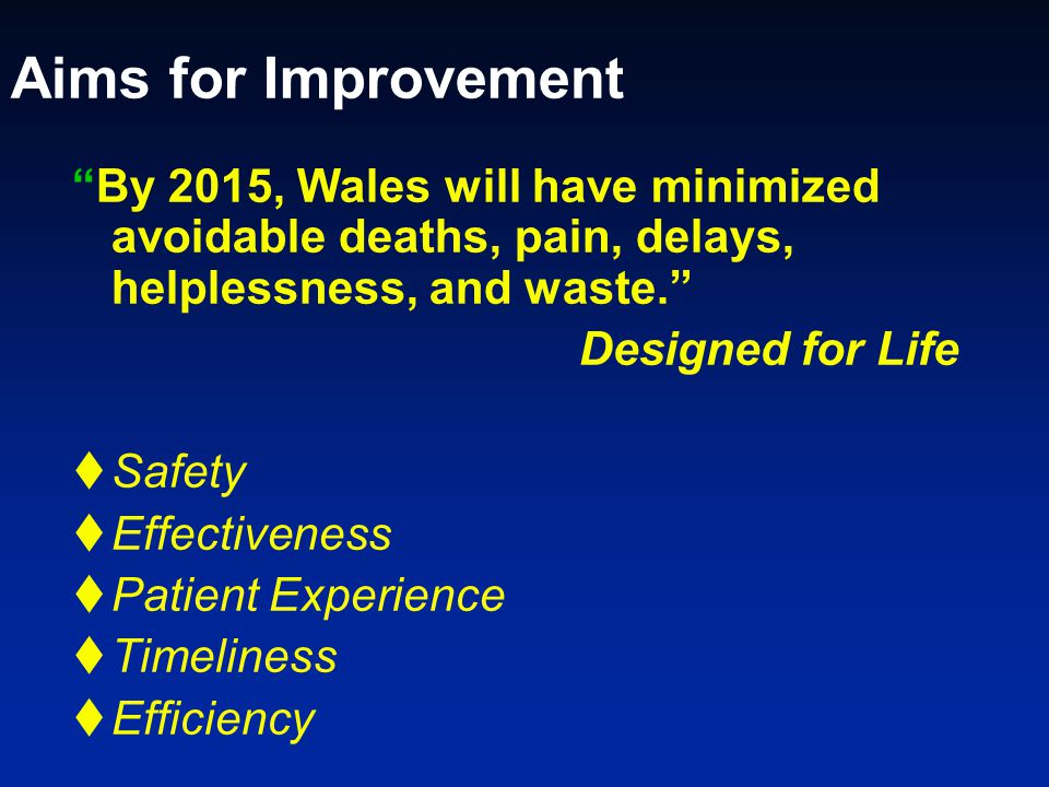 Aims for Improvement By 2015, Wales will have minimized avoidable deaths, pain, delays, helplessness, and waste.