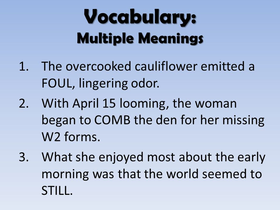 Vocabulary: Multiple Meanings