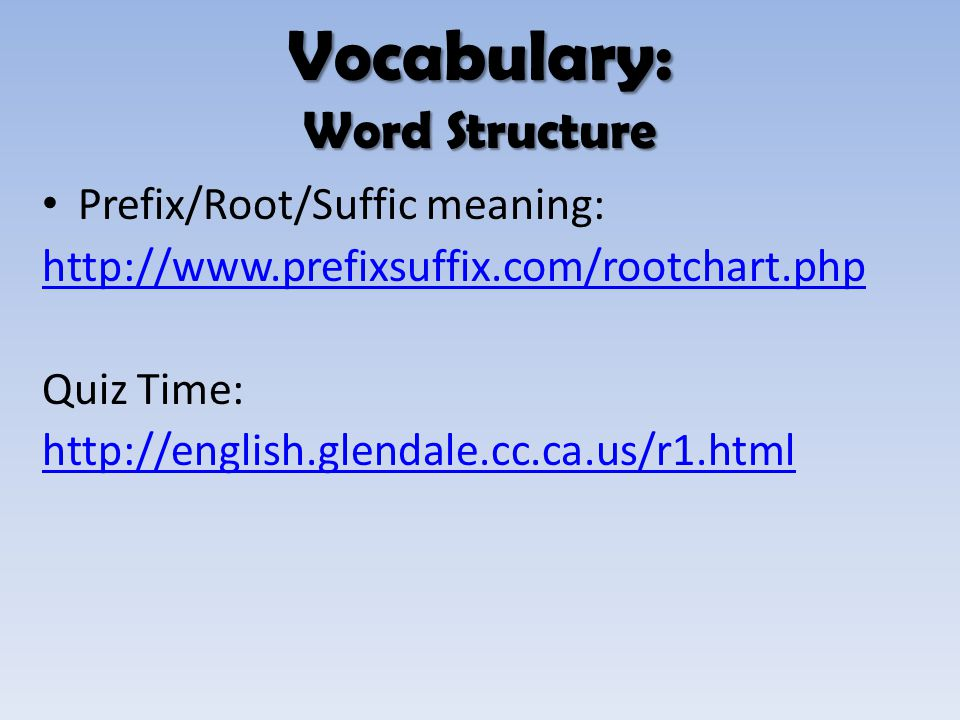 Vocabulary: Word Structure
