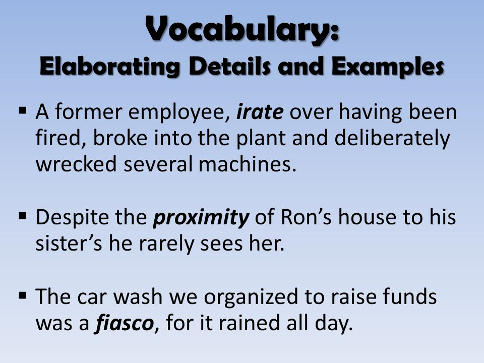 Vocabulary: Elaborating Details and Examples