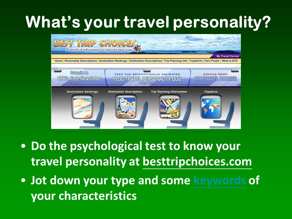 What's your travel personality