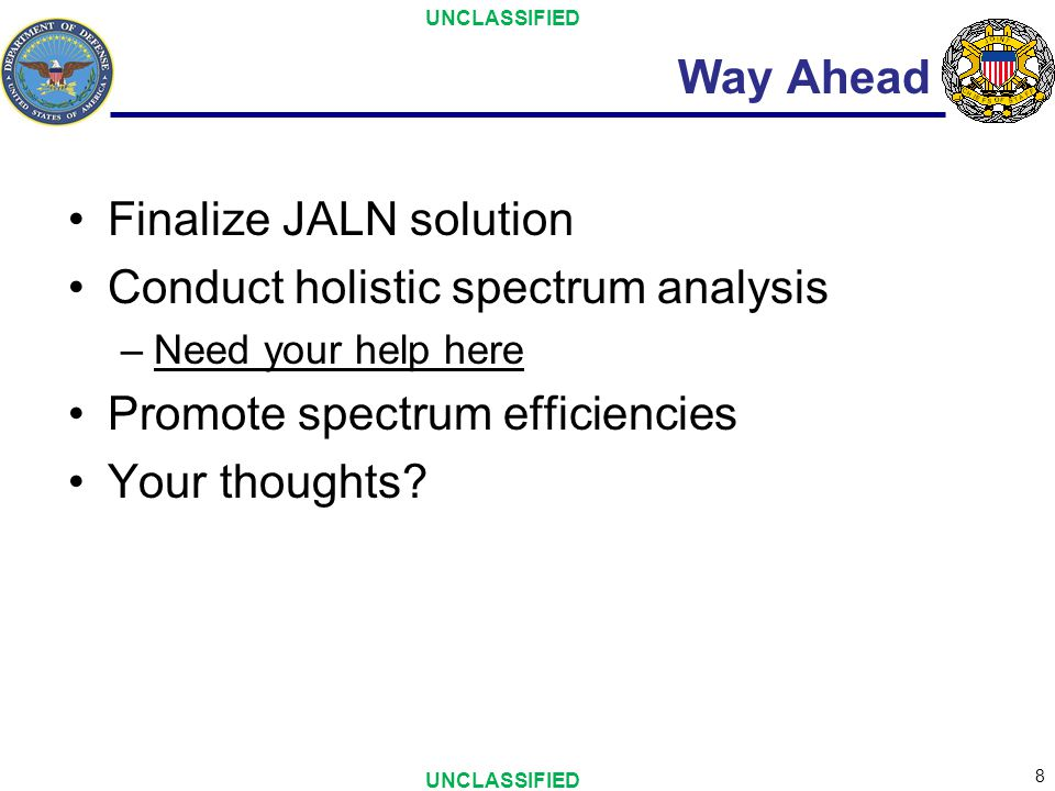 Finalize JALN solution Conduct holistic spectrum analysis