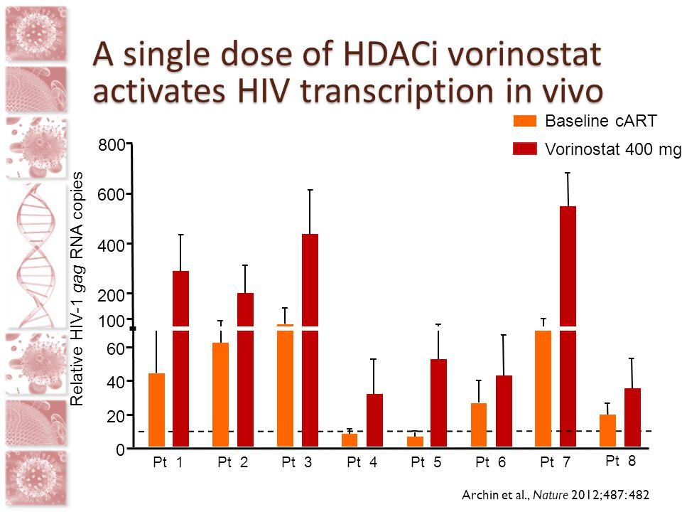 A single dose of HDACi vorinostat activates HIV transcription in vivo