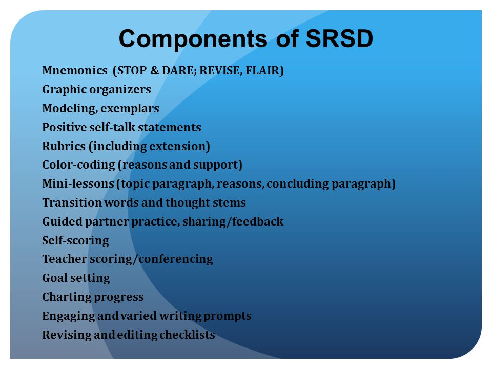 Components of SRSD Mnemonics (STOP & DARE; REVISE, FLAIR)