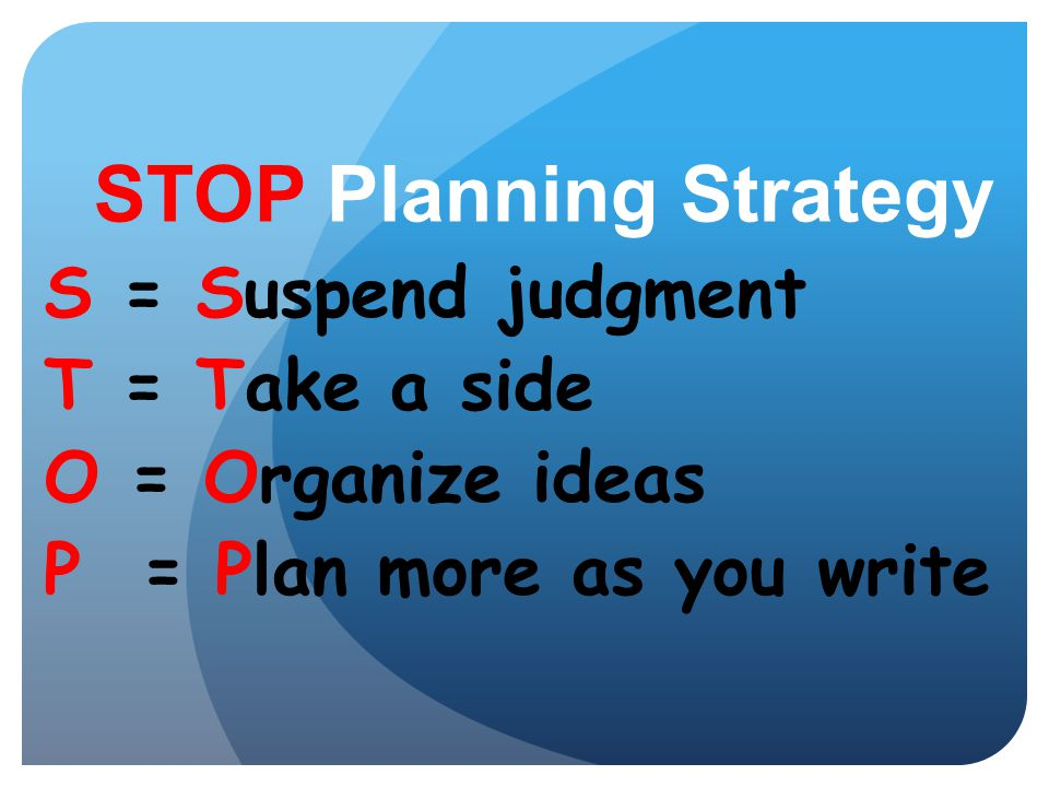 STOP Planning Strategy
