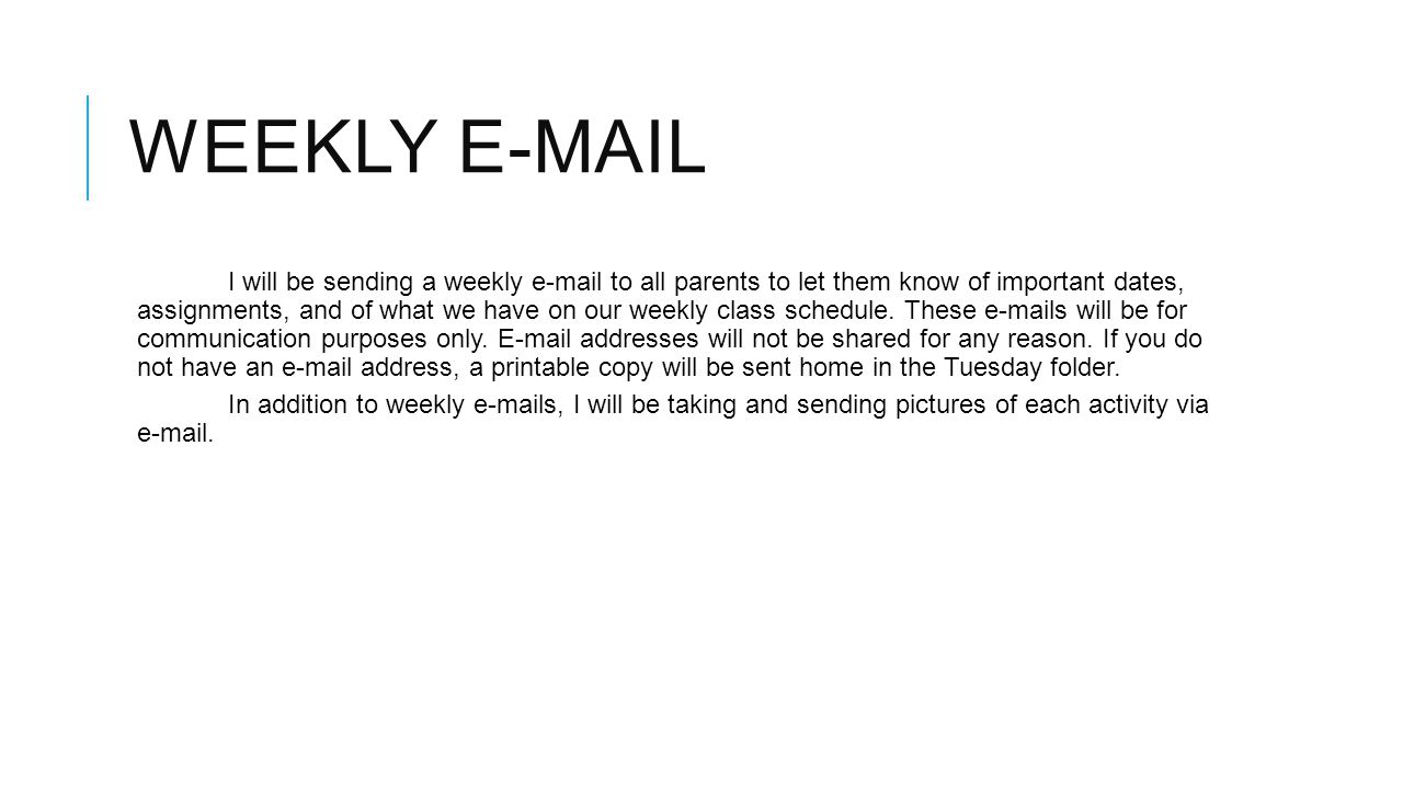Weekly e-mail