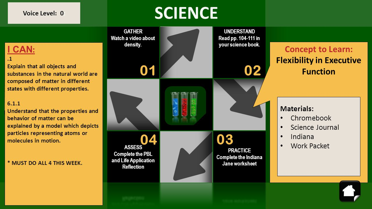 SCIENCE 01 02 04 03 I CAN: Concept to Learn: