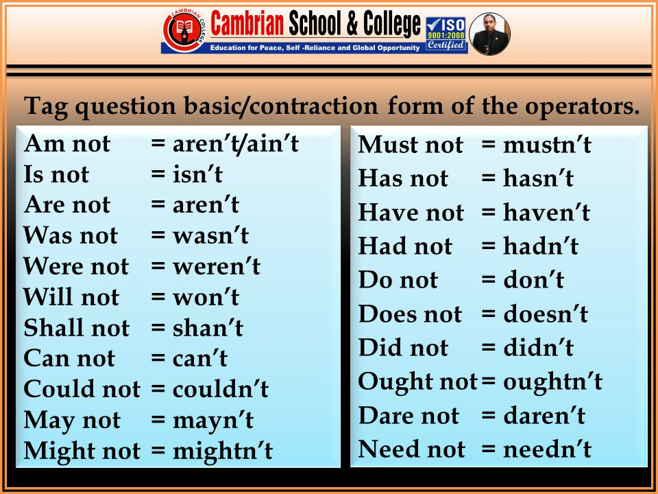 Tag question basic/contraction form of the operators.