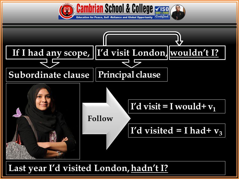 If I had any scope, I'd visit London, wouldn't I