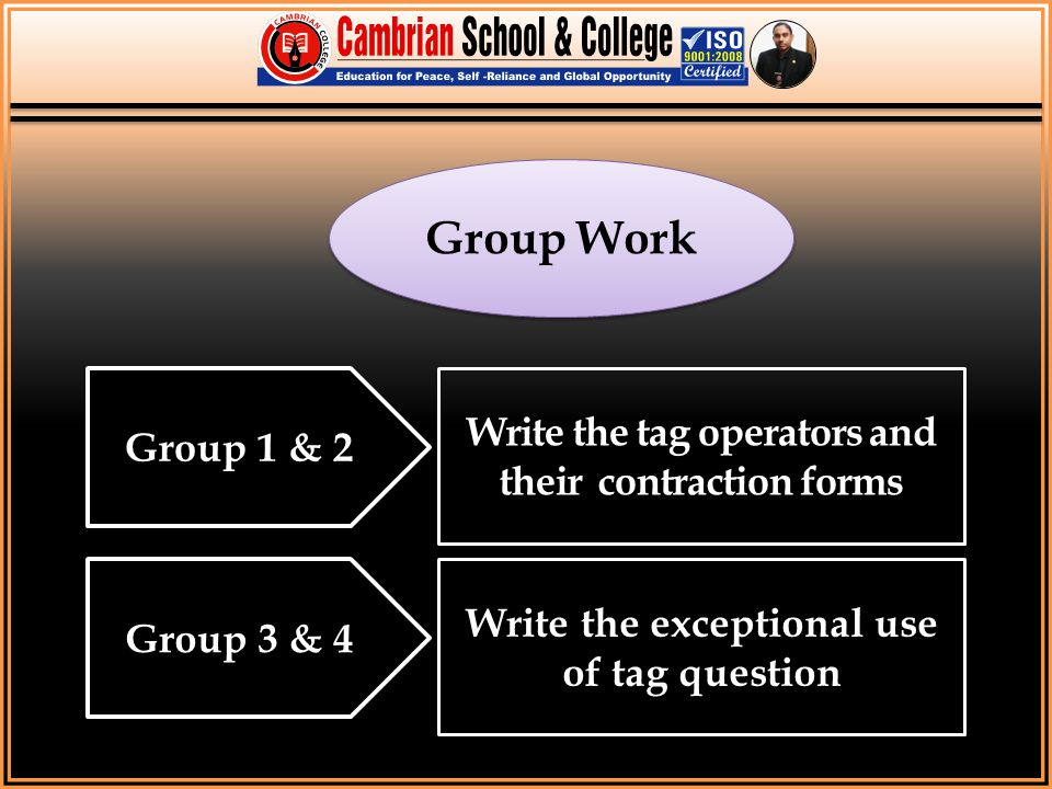 Group Work Write the tag operators and their contraction forms