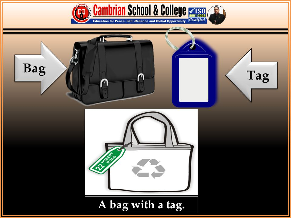Bag Tag. To show actual meaning of Tag ( Tag means to add something with other thing).