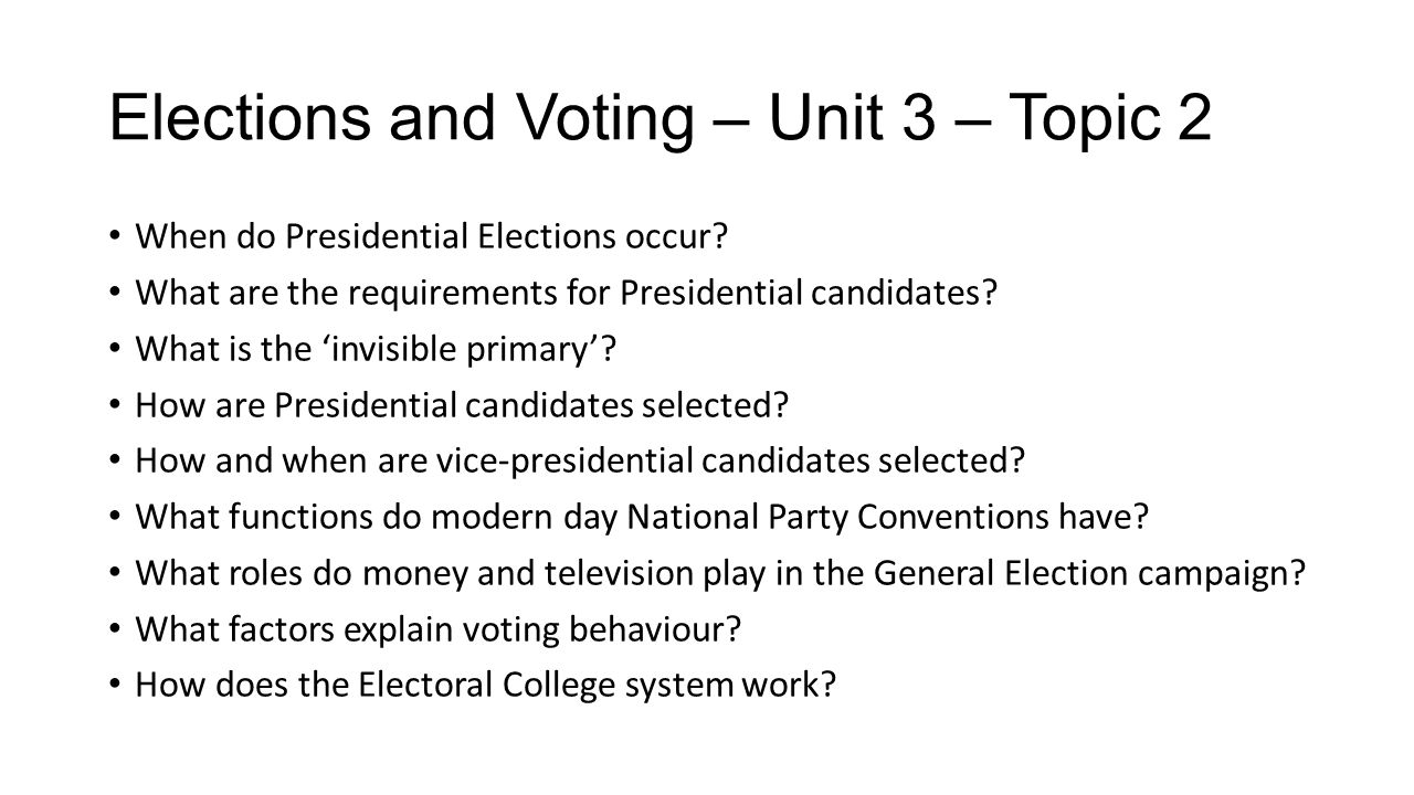 Elections and Voting – Unit 3 – Topic 2