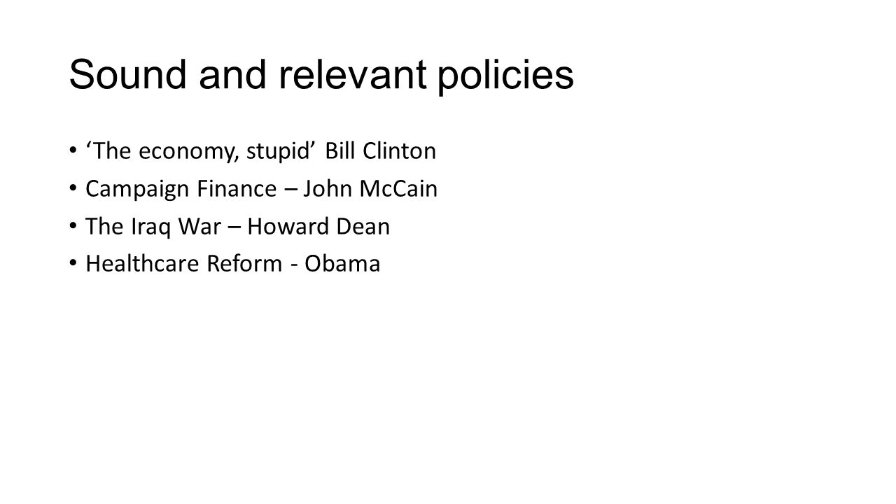 Sound and relevant policies