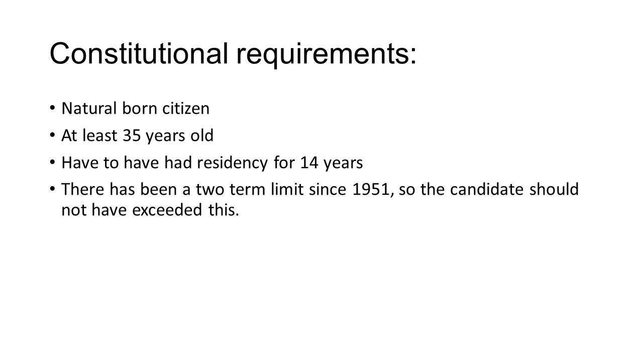 Constitutional requirements: