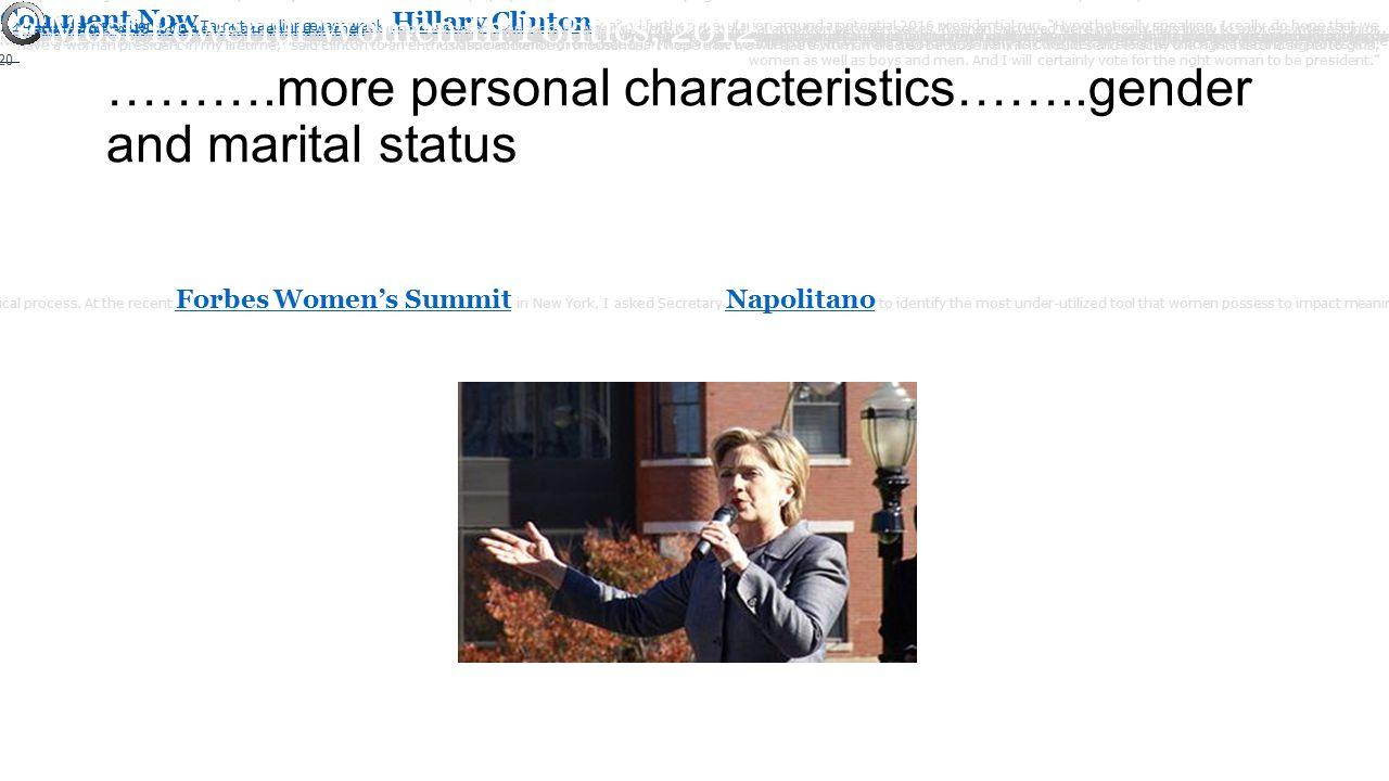 ……….more personal characteristics……..gender and marital status