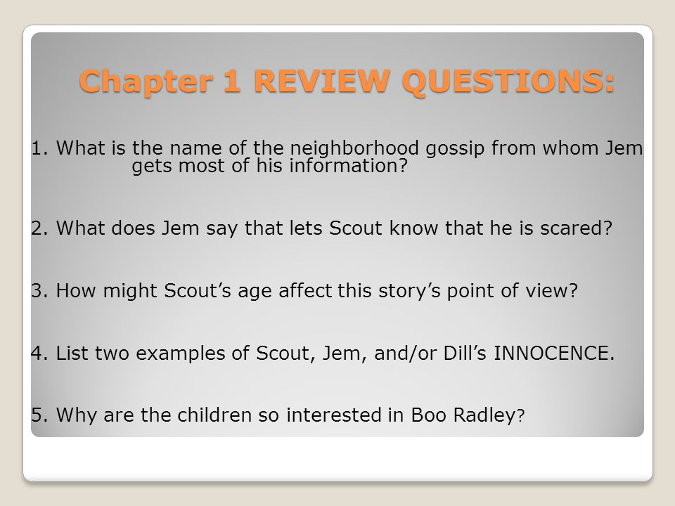 Chapter 1 REVIEW QUESTIONS: