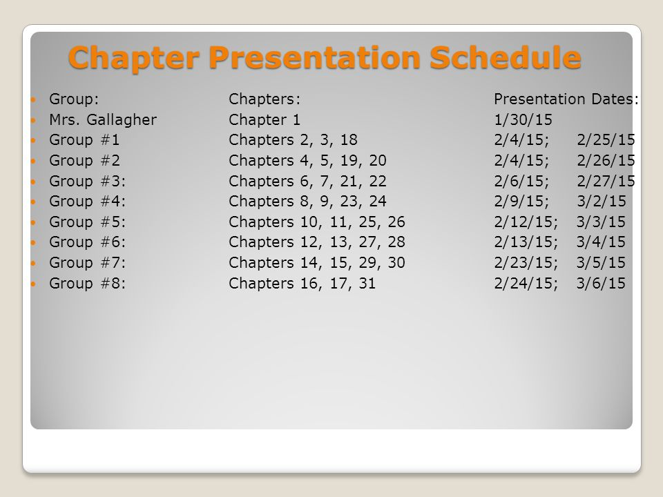 Chapter Presentation Schedule