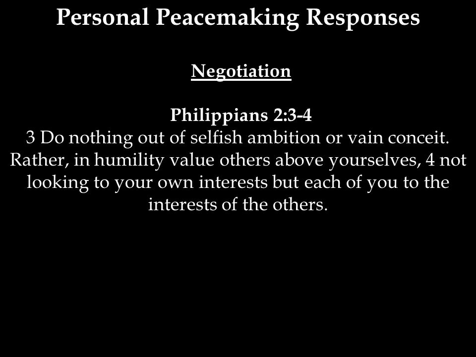 Personal Peacemaking Responses